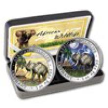 2017 Somalia 2-Coin 1 oz Silver Elephant Set Day/Night (Colored)