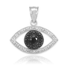 10K White Gold Evil Eye Pendant with Clear and Black Diamonds