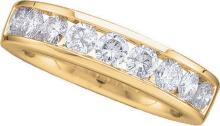 14k White Gold Round Channel-set Natural Diamond Womens Wedding Bridal Band Size 8 1.00 Cttw