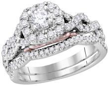 14k White Gold Womens Natural Round Diamond Bellissimo Bridal Wedding Infinity Ring Band Set 1.00 Cttw