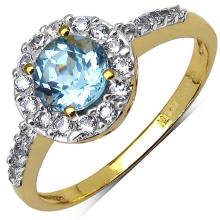 14K Yellow Gold Plated 1.35 Carat Blue Topaz and White Cubic Zircon Brass Ring