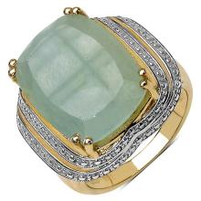 14K Yellow Gold Plated 13.15 Carat Genuine Aquamarine .925 Sterling Silver Ring