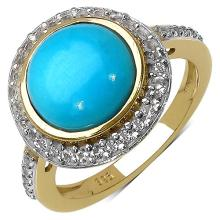 14K Yellow Gold Plated 3.42 Carat Genuine Turquoise & White Topaz .925 Streling Silver Ring