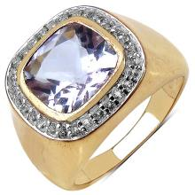 14K Yellow Gold Plated 3.80 Carat Genuine Amethyst & White Topaz .925 Streling Silver Ring