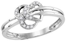 10kt White Gold Womens Round Natural Diamond Heart Love Fashion Ring 1/20 Cttw