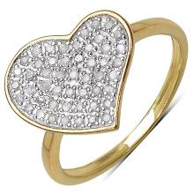 14K Yellow Gold Plated 0.26 Carat Genuine White Diamond .925 Streling Silver Ring