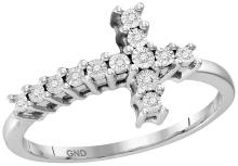 Sterling Silver Womens Round Natural Diamond Christian Cross Cluster Fashion Ring 1/20 Cttw