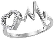Sterling Silver Womens Round Natural Diamond Heart Love Heartbeat Fashion Ring 1/20 Cttw