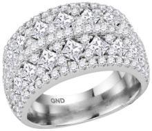 14kt White Gold Womens Princess Diamond Band Ring 3.00 Cttw