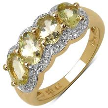 14K Yellow Gold Plated 1.78 Carat Genuine Yellow Beryl & White Topaz .925 Streling Silver Ring