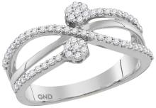 10kt White Gold Womens Round Natural Diamond Flower Cluster Crossover Fashion Band Ring 1/3 Cttw
