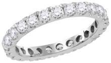 14kt White Gold Womens Round Natural Diamond Eternity Wedding Anniversary Ring 1 & 1/2 Cttw