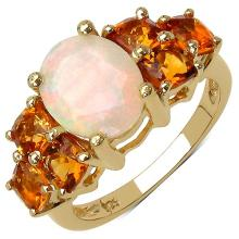 14K Yellow Gold Plated 3.14 Carat Genuine Ethiopian Opal .925 Sterling Silver Ring