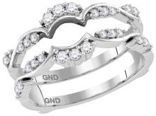 14kt White Gold Womens Round Natural Diamond Ring Guard Wrap Solitaire Enhancer 1/3 Cttw