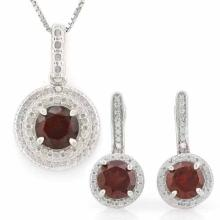 3 CARAT GARNETS & GENUINE DIAMONDS 925 STERLING SILVER LEVER BACK JEWELRY SET