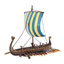 HAND PAINTED RESIN VICKING SHIP 12 3/4