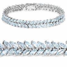 10.34 Carat Genuine Aquamarine .925 Sterling Silver Bracelet