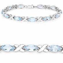 13.20 Carat Genuine Blue Topaz .925 Sterling Silver Bracelet