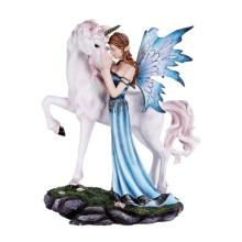 HAND PAINTED RESIN FAIRY WITH UNICORN 8