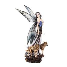 COLD CAST RESIN FAIRY WITH WOLVES 16 1/2