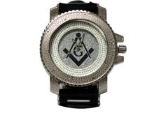SILVER AND WHITE MASONIC WATCH W/ SILVER BACK GROUND