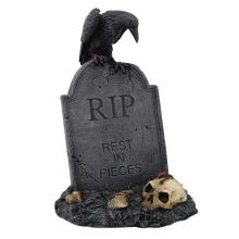 HAND PAINTED RESIN LARGE RAVEN ON TOMBSTONE RIP H: 17 1/2