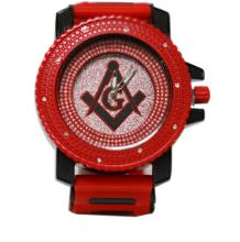 RED AND BLACK MASONIC WATCH W/ SILVER BACK GROUND
