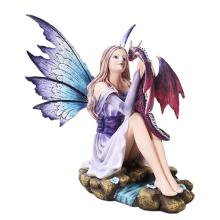 HAND PAINTED RESIN FAIRY WITH DRAGON 10