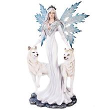 HAND PAINTED RESIN FAIRY WITH WOLVES 15 3/4