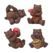 HAND PAINTED RESIN GRIZZLY BEARS SET OF 4 H: 3