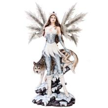 HAND PAINTED RESIN FAIRY WITH WOLF 16 1/2