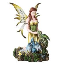 HAND PAINTED RESIN FAIRY WITH DRAGONLINGS 6 3/4