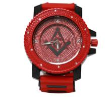 RED AND BLACK MASONIC WATCH W/ STUDDED SILVER