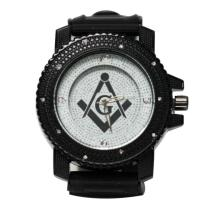 INTRIGUING WHITE AND BLACK MASONIC WATCH W/BLACK STRAP