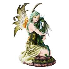 HAND PAINTED RESIN FAIRY WITH DRAGON 6