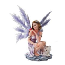 HAND PAINTED RESIN WINTER FAIRY WITH WOLF 13