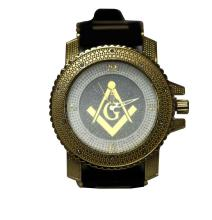 INTRIGUING WHITE ON GOLD MASONIC WATCH W/ BLACK BACK GR