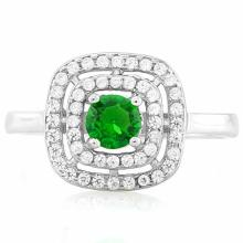 3/5 CARAT CREATED EMERALD & 1/2 CARAT (52 PCS) FLAWLESS CREATED DIAMOND 925 STERLING SILVER HALO RING
