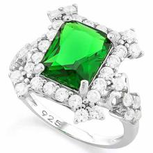 4 CARAT CREATED EMERALD & 4 CARAT (40 PCS) FLAWLESS CREATED DIAMOND 925 STERLING SILVER HALO RING
