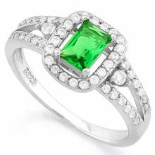 2/3 CARAT CREATED EMERALD & 1/2 CARAT (46 PCS) FLAWLESS CREATED DIAMOND 925 STERLING SILVER HALO RING