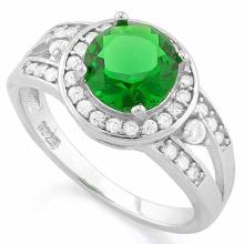 2 CARAT CREATED EMERALD & 1/3 CARAT (34 PCS) FLAWLESS CREATED DIAMOND 925 STERLING SILVER HALO RING