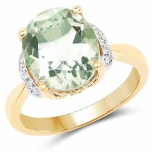 14K Yellow Gold Plated 4.38 Carat Genuine Green Amethyst and White Topaz .925 Sterling Silver Ring