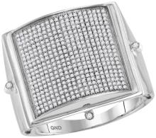 10kt White Gold Mens Round Pave-set Diamond Square Dome Cluster Ring 7/8 Cttw