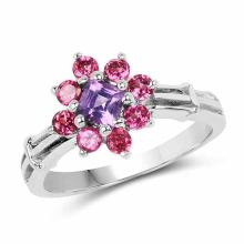 1.04 Carat Genuine Amethyst and Rhodolite .925 Sterling Silver Ring