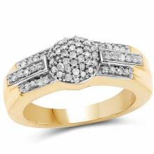 14K Yellow Gold Plated 0.30 Carat Genuine White Diamond .925 Sterling Silver Ring