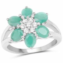 1.93 Carat Genuine Emerald and White Topaz .925 Sterling Silver Ring