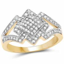 14K Yellow Gold Plated 0.32 Carat Genuine White Diamond .925 Sterling Silver Ring