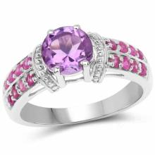 1.71 Carat Genuine Amethyst and Ruby .925 Sterling Silver Ring