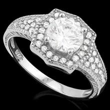 1 3/5 CARAT (41 PCS) FLAWLESS CREATED DIAMOND 925 STERLING SILVER HALO RING