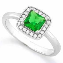 1 1/2 CARAT CREATED EMERALD & 1/5 CARAT (20 PCS) FLAWLESS CREATED DIAMOND 925 STERLING SILVER HALO RING